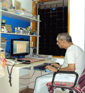 Image result for N V Subbaraman in his computer table