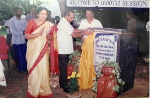 "Inaugurating 1600th Session and the open air class room ""SHANTHINIKETHAN"" in LIC Zonal Training Center, Ambattur, Chennai in 2000."