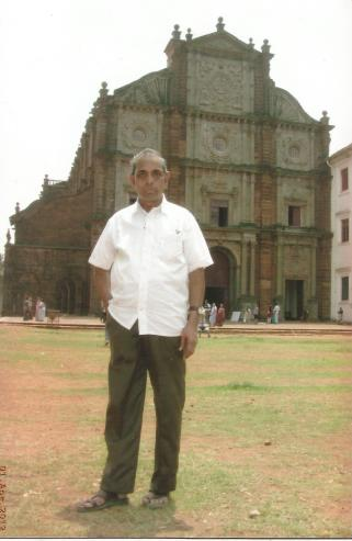 Image result for N V Subbaraman in front of Goa Church