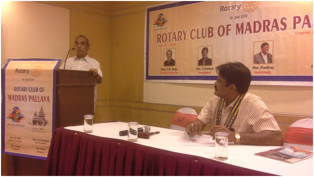 N V Subbaraman addressing Rotary Club of Madras Pallava on 14/10 on Bharathi and Rotary.