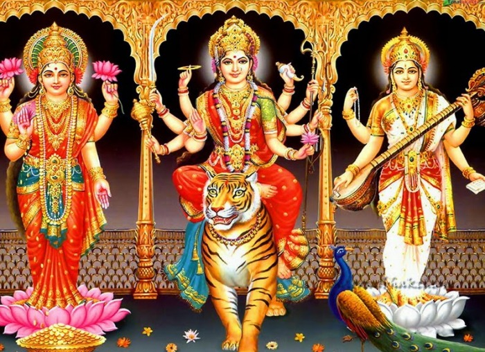 Image result for images of durga lakshmi saraswathi